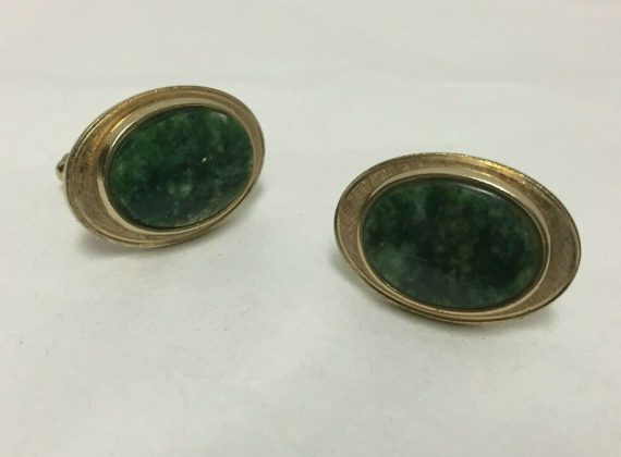 vintage-cufflinks-gold-tone-green-cabachon-marble-stones
