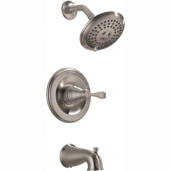 Delta Porter 144984C-BN-A 1-Handle 3-Spray Tub and Shower Faucet in Brushed Nickel (Valve Included)