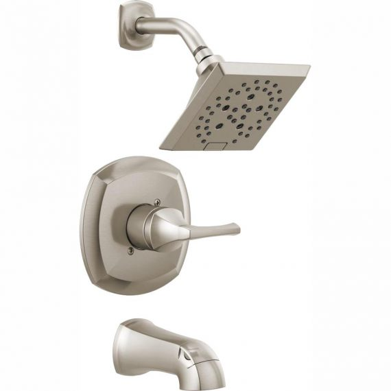 Delta Portwood 144770-SP Single-Handle 5-Spray Tub and Shower Faucet with H2Okinetic in SpotShield Brushed Nickel (Valve Included)