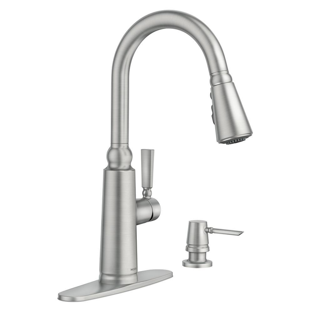 moen coretta 87997srs 1-handle pull-down sprayer kitchen