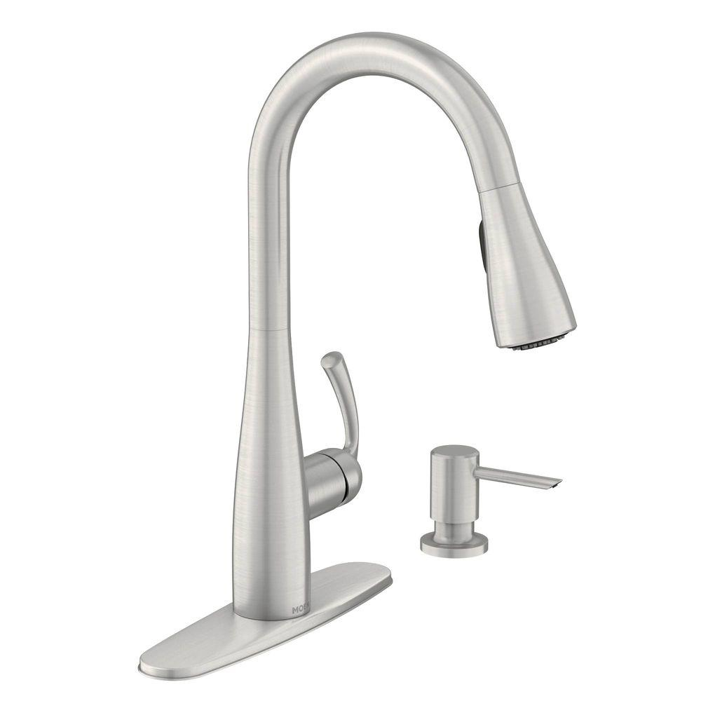 Moen Essie 87014srs 1 Handle High Arc Pulldown Kitchen Faucet In Stainless