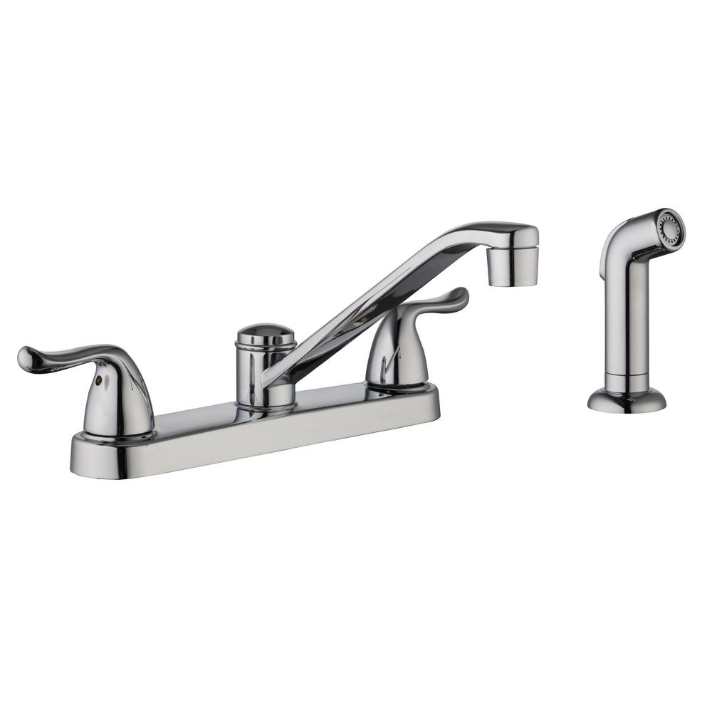 Glacier Bay Constructor 1002 974 601 2 Handle Standard Kitchen Faucet With Side Sprayer In Chrome
