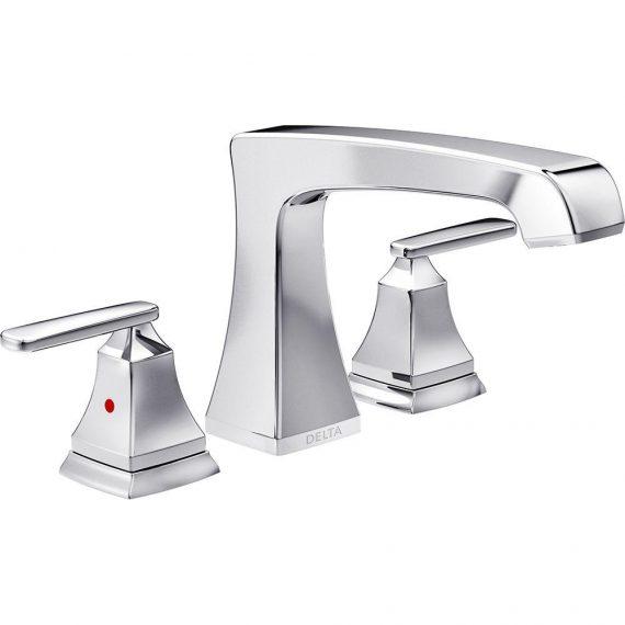 Delta Ashlyn T2764 2-Handle Deck-Mount Roman Tub Faucet Trim Kit in Chrome (Valve Not Included)
