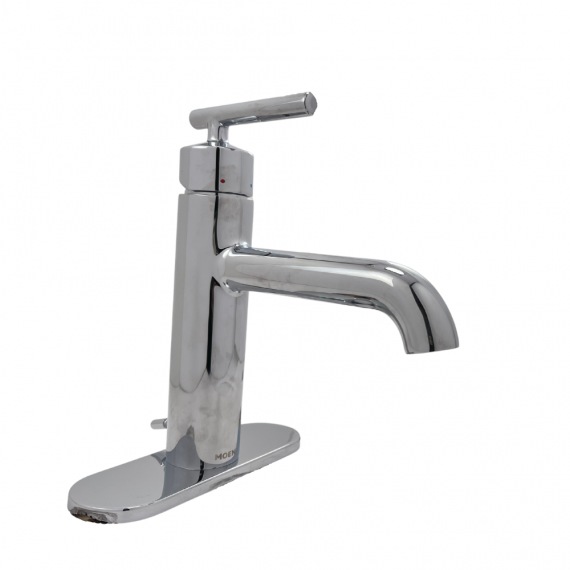 Moen Gibson 6145 Brushed Chrome Single Hole, Handle Bathroom Faucet w/ Drain Assembly