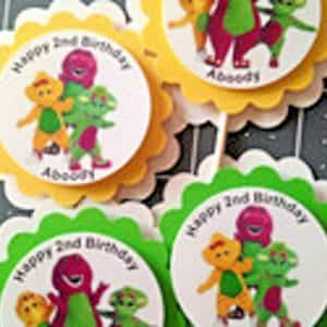barney-and-friends-personalized-cupcake-toppers-birthday-party-handmade