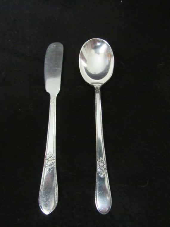 Master Butter Knife and Sugar Spoon, Adoration Silverplate 1939   (2559)