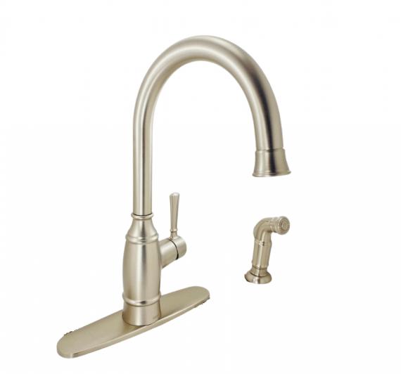 Moen Noell - 87506SRS - 1-Handle Standard Kitchen Faucet with Side Sprayer