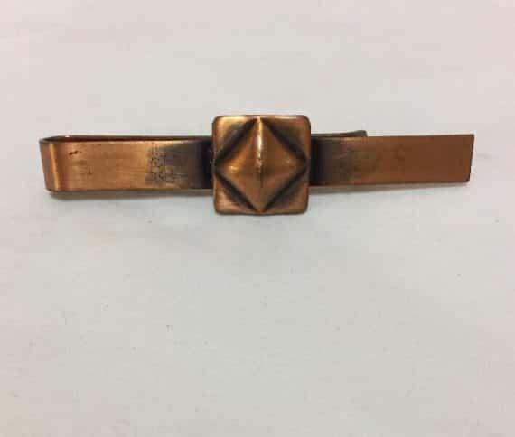 rebajes-copper-tie-bar-clip-geometric-design-signed-vintage