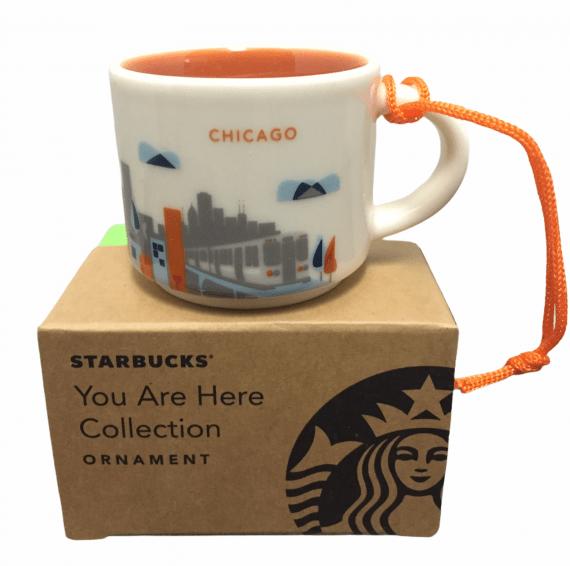 Starbucks Chicago You Are Here Ornament Mini Mug Espresso Cup New
