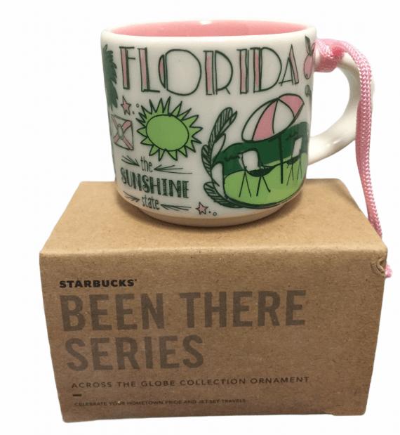 Starbucks Florida Been There Ornament Sunshine State Pink Umbrella in Box