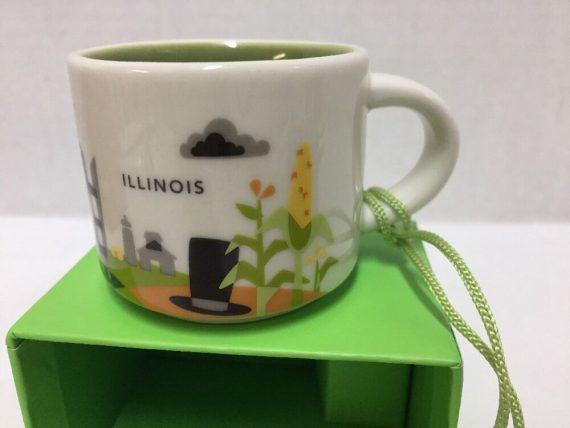 Starbucks Illinois Ornament You Are Here Mini Mug Espresso Cup Ceramic New