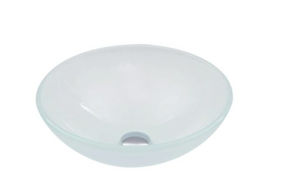 VIGO VG07043 Glass Round Vessel Bathroom Sink in Frosted White