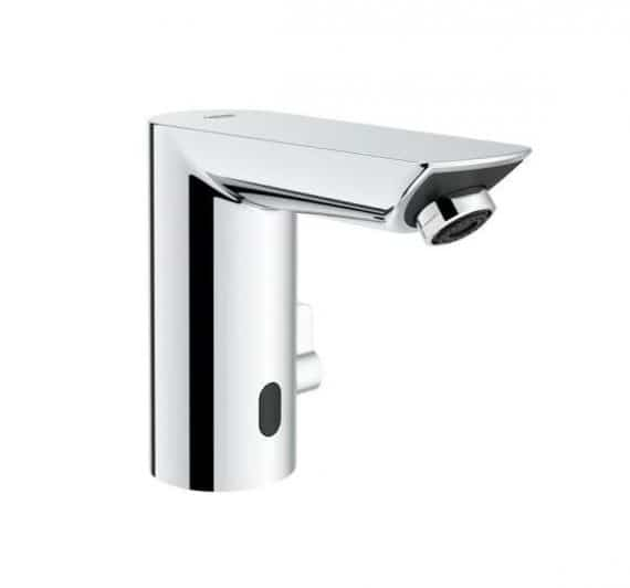 grohe-bau-cosmopolitan-battery-powered-single-hole-touchless-bathroom-faucet-with-temperature-control-lever-starlight-chrome