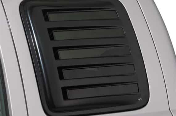 1999-2016 F250/F350 Super Duty Rear Side Window Cover-Louvered-Aeroshade-Black