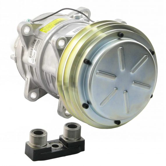 Case IH Cotton Harvester Seltec/Tama TM16 Compressor, w/ 2 Groove Clutch & Manifold - Air Conditioner