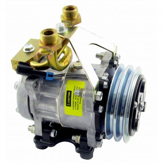 Case Tractor Genuine Sanden/York SD7H15 Compressor, w/ 2 Groove Clutch - Air Conditioner