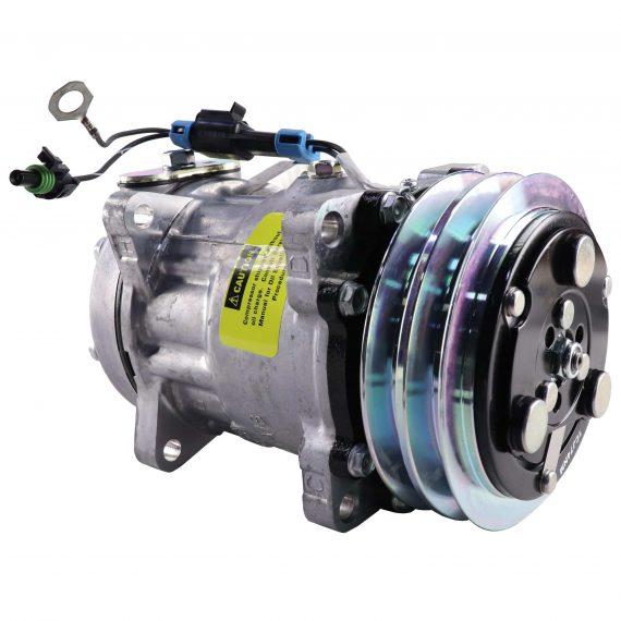 New Holland Forage Harvester Genuine Sanden SD7H15 Compressor, w/ 2 Groove Clutch - Air Conditioner