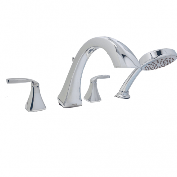MOEN Voss T694 2-Handle High-Arc Roman Tub Faucet Trim Kit with Hand Shower in Chrome (Valve Not Included)
